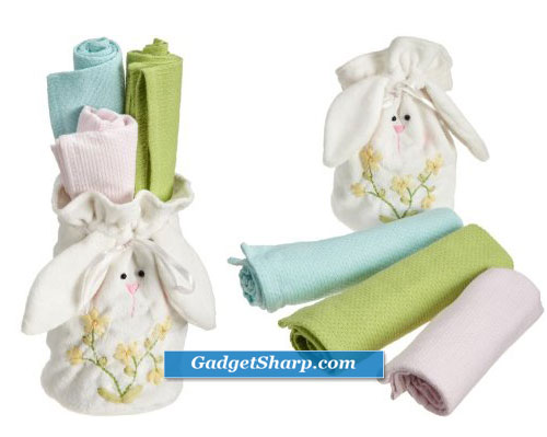 DII Easter Bunny Felt Bag and Kitchen Towel Gift Set