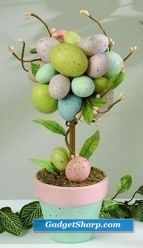 Pack of 4 Pastel Potted Easter Egg Tree Table Accents