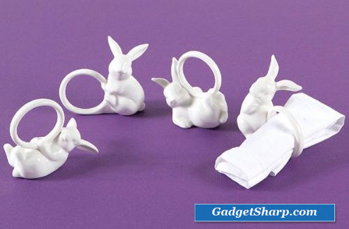 12 Playfully Posed White Porcelain Easter Bunny Napkin Rings