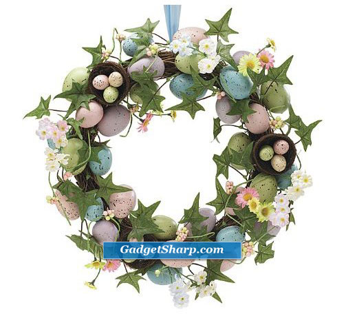 Speckled Easter Egg Wreath with Flowers