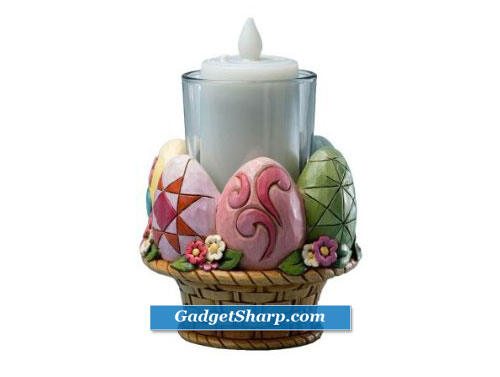4-Inch Easter Egg and Easter Basket Votive Holder with Glass Votive