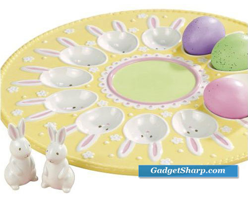Grasslands Road Easter 11-1/2-Inch Bunny Egg Plate with Bunny Salt And Pepper Set