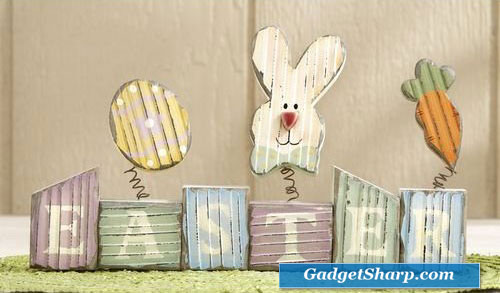 Wood Easter Block Holiday Decoration