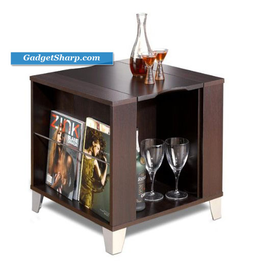 Espresso End Table with Serving Tray