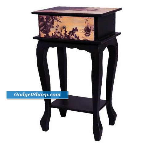 Japanese Style: Single Drawer Bedside Nightstand End Table
