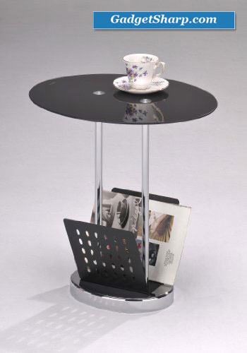 Black / Chrome Glass & Metal End Table With Magazine Rack