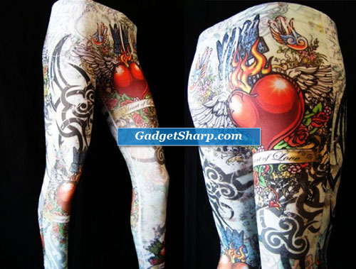 Tattoo Inspired Stretch Leggings Heart of Love