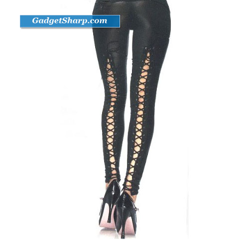 Black Wet Look Leggings with Lace up Back