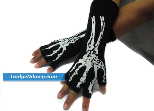 Skeleton Black Fingerless Glove