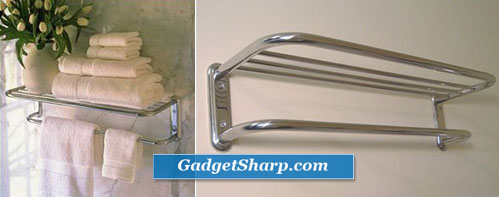 Polished Chrome Train Rack or Hotel Style 18 Towel Shelf with Drying Bar
