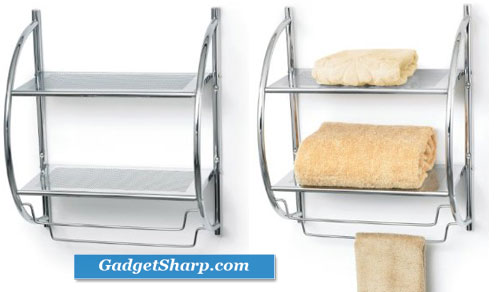 Double Bathroom Shelf and Towel Rack