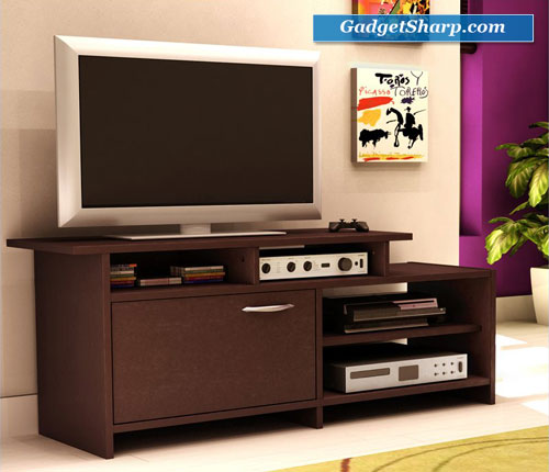 Chocolate Finish Asymmetrical TV Stand