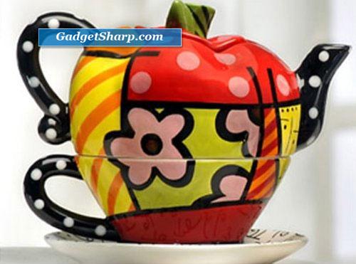 New Romero Britto Teapot Apple Tea for One Set Ceramic
