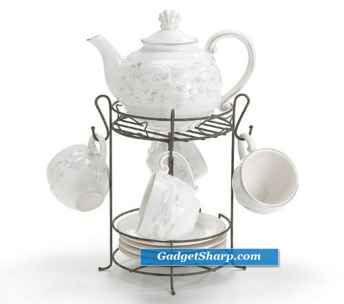 10 Piece Mariner Bay Ceramic Teapot And Teacup Set With Stand Ocean Themed