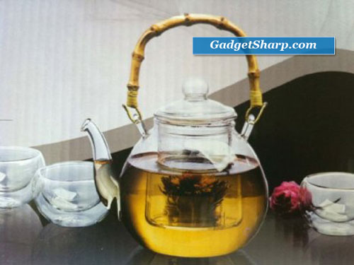 5-pc glass Teapot Set with cups