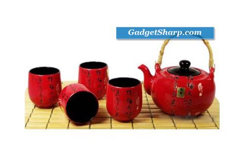 Japanese Tea Set Teapot Teacup Red kanji