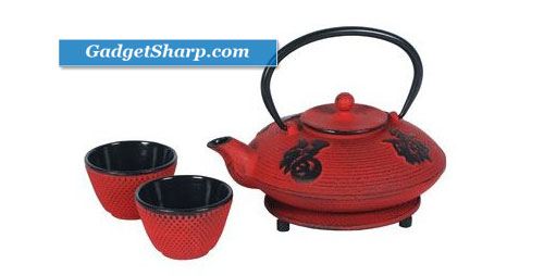 Red Cast Iron Tea Set- Teapot, Two Cups & Trivet