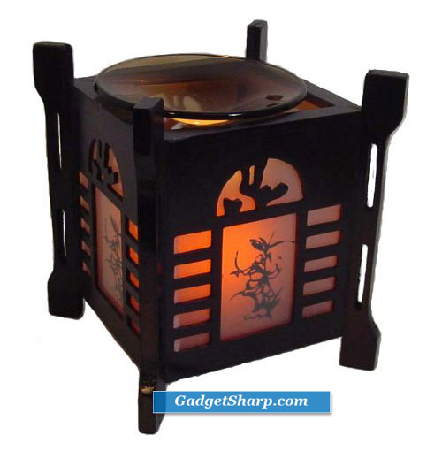 Asian Wooden Electric Oil Warmer and Tart Burner