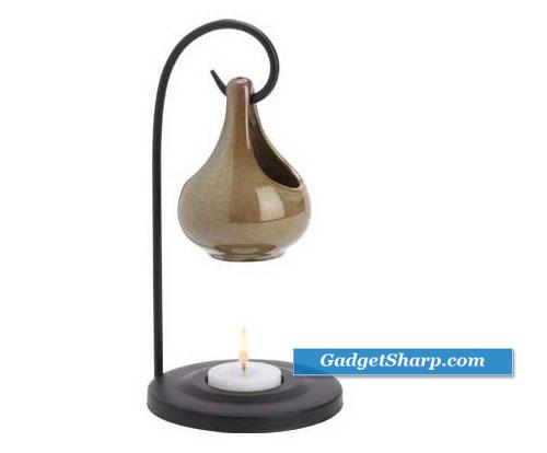 Folk Art Porcelain Tear Drop Oil Warmer Candle Holder