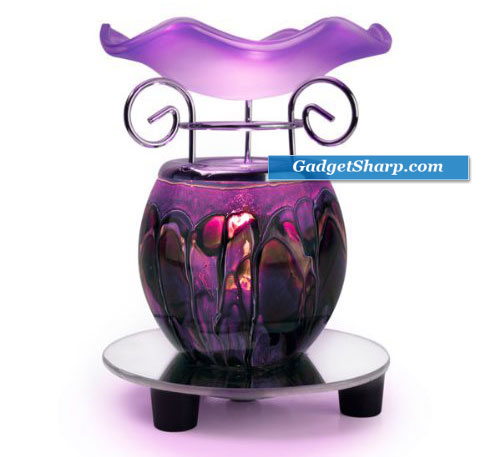 Purple Tie Dye Electric Oil Warmer with a Mirrored Base