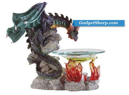 Alabastrite Dragon Oil Burner on Fire