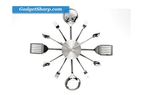 Present Time Wall Clock Silverware Steel Utensils