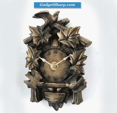 2-Inch Bronze Bird's Nest Cuckoo Clock