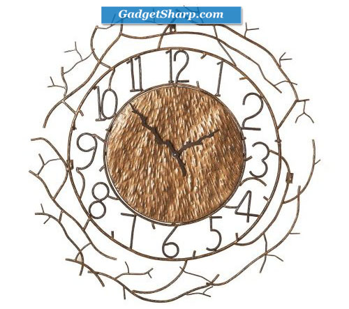 Branch Design Wall Clock with Branch-Style Hands and Antique Gold Finish From CBK Home