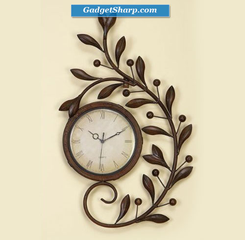 Olive Leaf Leaves Metal Branch Wall Clock