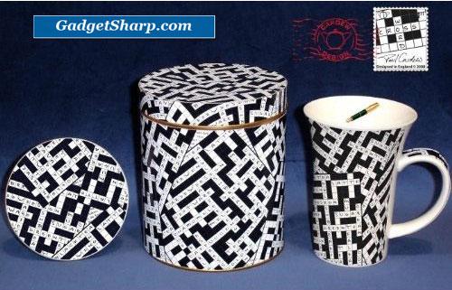 Paul Cardew Crosswords 14 oz. Mug, Coaster, Tin Set