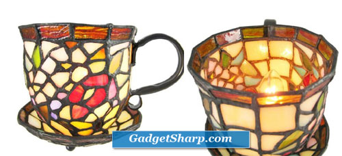 Stained Glass Teacup Accent Lamp Tea Cup Saucer