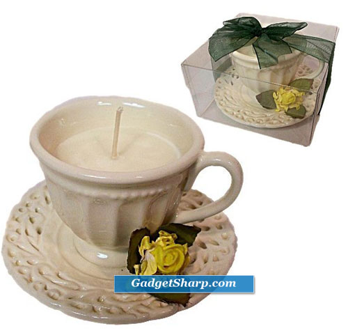 Ivory Tea Cup Candle