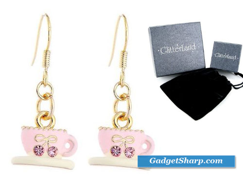 Pink Tea Cup Earrings