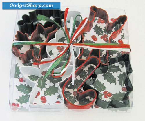 Christmas Holly 7 Piece Color Cookie Cutter Set