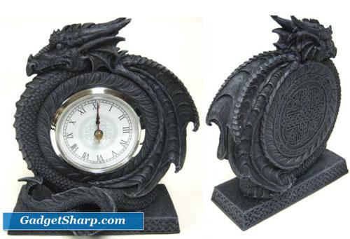 Gothic Coiled Celtic Dragon Quartz Mantel Clock