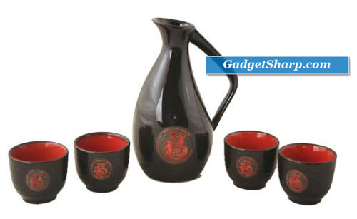 Glazed Ceramic 5 Pcs Japanese Sake Set