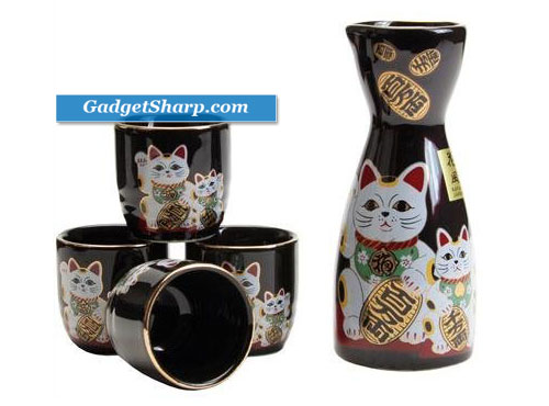 Japanese sake set Fortune cat maneki neko Blk
