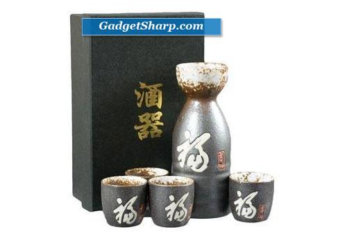 5 piece Japanese Kanji Sake Set