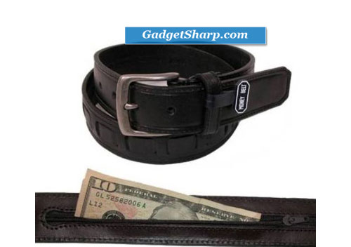Genuine Leather Money Belt with Leather Inset by Canterbury