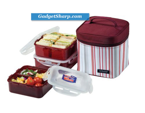Lock & Lock Rectangular Lunch Box 3-Piece Set with Insulated Purple Stripe Bag