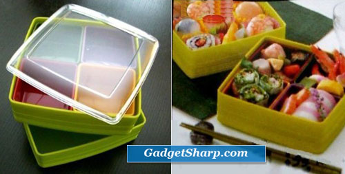 Large Lunch box Bento box 2 Tier SQ GRN