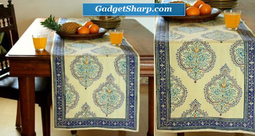 Yellow Blue Table Runner