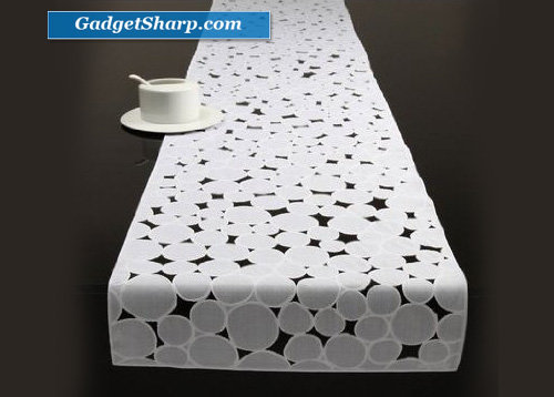 Chilewich Pressed Dots Vinyl Table Runner White