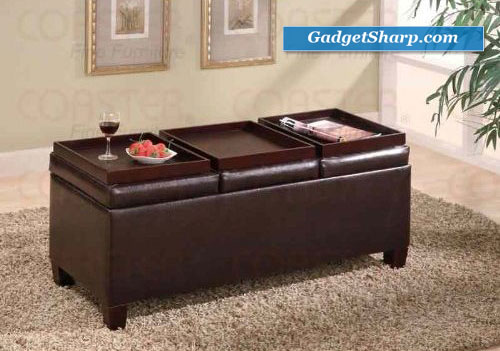 Coaster Storage Ottoman Coffee Table with Trays