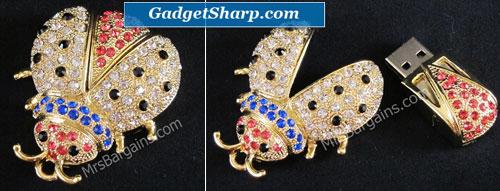 Crystal Ladybug Flash Drive Necklace 4GB