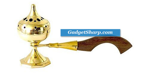 Brass Incense Burner with Wood Handle