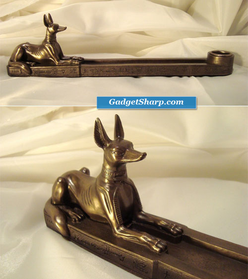 Anubis Incense and Taper Candle Holder
