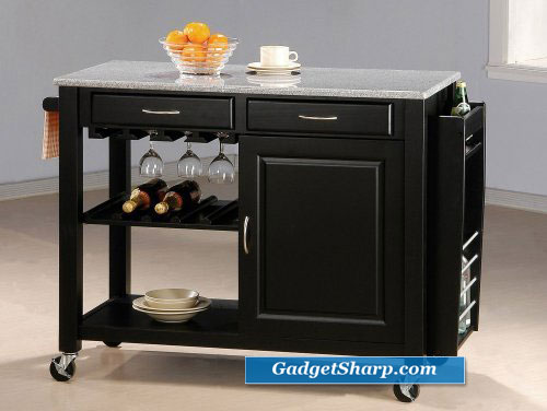 Black Kitchen Island Table w/Granite Top & Drawers