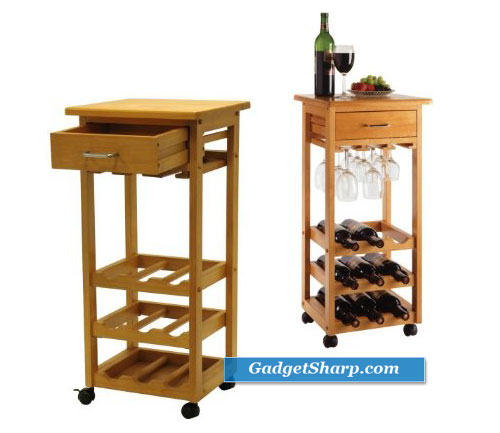Winsome Wood Wine Cart with Drawer