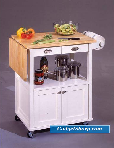 Natural and White Wood Top Kitchen Cart